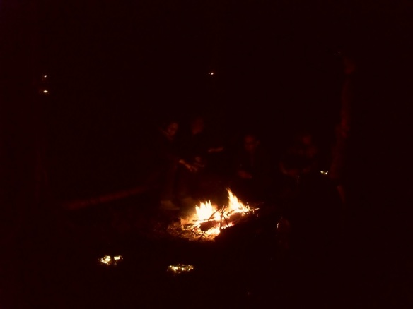 Enjoying an autumnal evening around a campfire with friends!